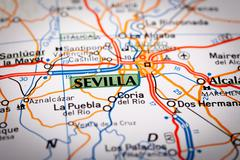 Sevilla on a road map Stock Photos