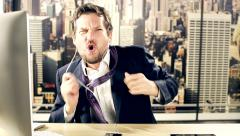 Happy business man feeling freedom dancing taking off jacket and tie Stock Footage