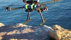 Take off - Radio controlled quadcopter rises up Stock Footage
