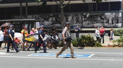 Indigenous land protest at the Brisbane G20 4K Stock Footage