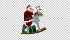 Santa On Wooden Reindeer With Golden Antlers - Side - Loop - Alpha - stock footage