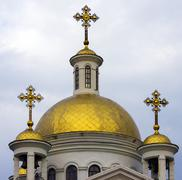 orthodox gold dome - stock photo