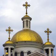 Orthodox gold dome Stock Photos