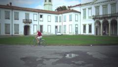 Elder male in bicycle - stock footage