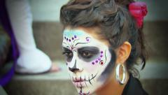 Model with makeup fo halloween Stock Footage