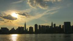 4k timelapse of afternoon sun setting over Manhattan midtown - stock footage
