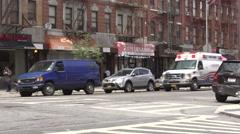 New York Ambulance speeding past Stock Footage