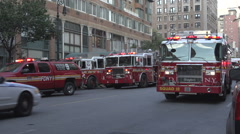 New York fire trucks called to fire Stock Footage