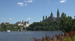 A pan across Ottawa, Canada, over the river. Stock Footage