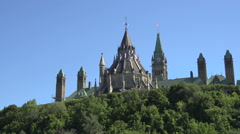 The rear of the Parliament Building, Ottawa, Canada, in close-up Stock Footage