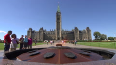 Crowds outside Canadian Parliament Bulding - timelapse Stock Footage