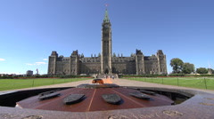 The Centennial Flame in front of Parliament - Ottawa, Canada - slow motion Stock Footage