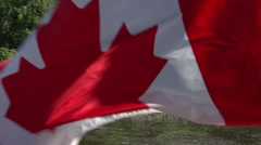 A Canadian flag flies, before revealing the Ottawa Government Buildings Stock Footage