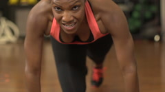 Black female athlete in training - slow motion Stock Footage