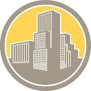 urban skyscraper buildings circle retro - stock illustration