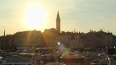 4k timelapes of sun setting over historic coastal town of Rovinj, Croatia - stock footage