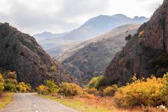 Armenian road view in autumn Stock Photos