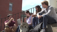 A diverse group of students sit on steps, in discussion. Stock Footage