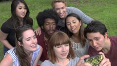 A group of racially-diverse students take a selfie. Stock Footage