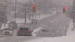 Stock Video Footage of Blizzard and highway car accidents crashes in winter storm in St Catharines