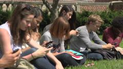 A group of racially-diverse students use cell phones. Stock Footage