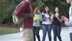 Three female students walk and chat in slow motion. Stock Footage