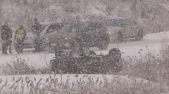 Blizzard and highway car accidents crashes in winter storm in St Catharines Stock Footage