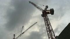 Construction Crane Timelapse Dusk 4096x2160 Not Graded Stock Footage