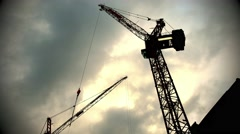 Construction Crane Timelapse Dusk 4096x2160 Graded Stock Footage