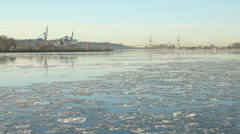 Flowing Fraser River Ice, British Columbia Stock Footage