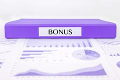 Bonus documents, graphs analysis and financial report Stock Photos