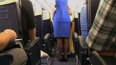 Cabin crew and trolley Stock Footage