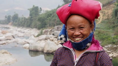Happy Red Dao Woman Wearing Traditional Headdress, Sapa District, Vietnam Stock Footage