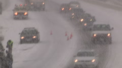 Blizzard and highway car accidents crashes in winter storm in St Catharines - stock footage