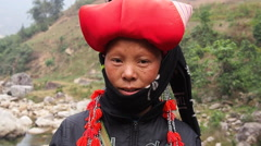 Red Dao Woman Wearing Traditional Headdress, Sapa District, Lao Cai, Vietnam Stock Footage