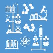 Chemistry decorative icons set - stock illustration