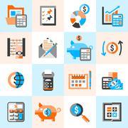 Accounting icons set Stock Illustration