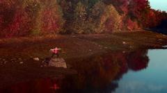 Warrior yoga poses on rock near lake Stock Footage