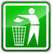 throw away trash green sign - stock illustration