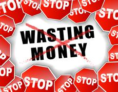 stop wasting money - stock illustration