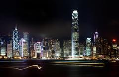 Hong kong skyline city at night Stock Photos