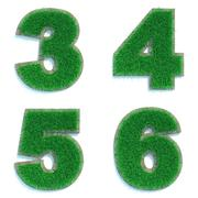 Digits 3, 4, 5, 6 of Green Lawn. - stock illustration