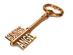 Business Angel - Golden Key on White Background. Stock Illustration