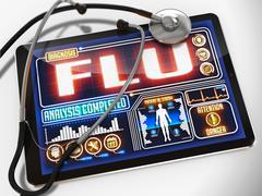 Flu on the Display of Medical Tablet. Stock Illustration