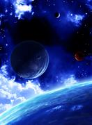 Beautiful space scene with planets - stock photo