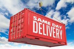 Same Day Delivery - Red Hanging Cargo Container. - stock illustration