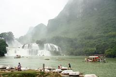 Rafts at Ban Gioc Waterfall, Vietnam - stock photo