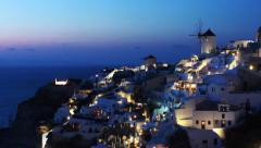 Classic Santorini scene SUNSET with famous blue dome churches, Greece - stock footage