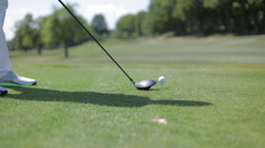 Golfer Performs A Golf Shot. Fair Way. - stock footage