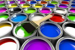 Multiple open paint cans with a brush. - stock illustration